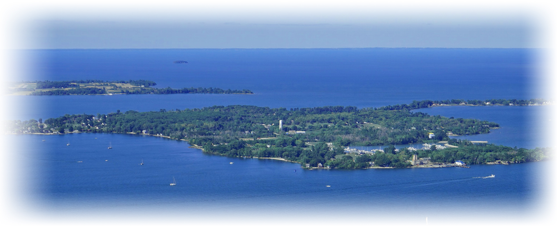 Middle Bass Island seen from the sky next to Put In Bay